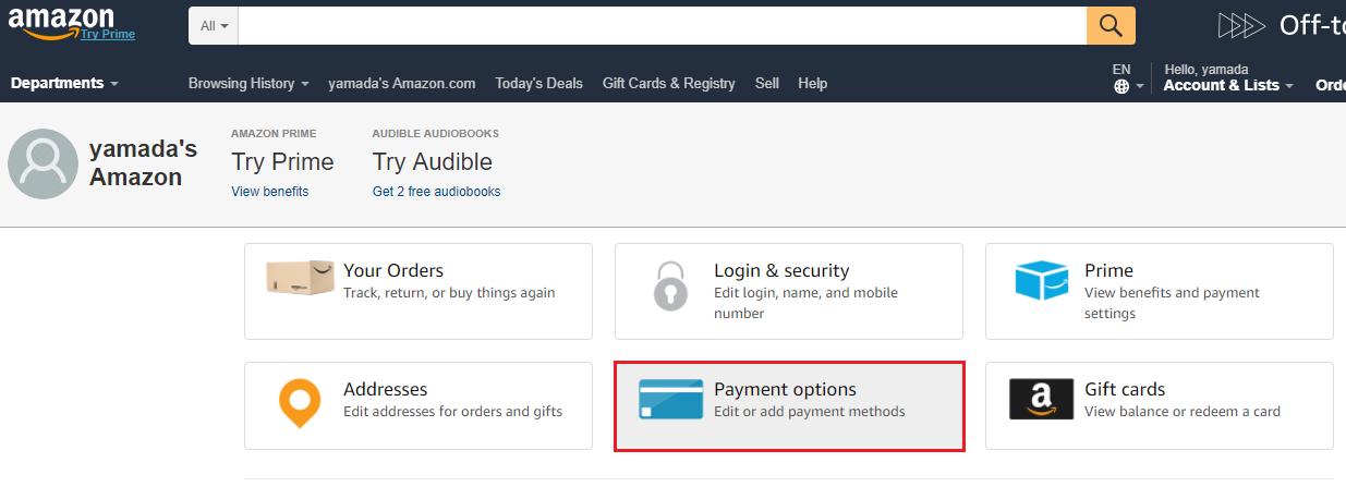 アメリカAmazonの支払い方法設定