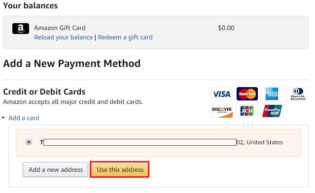 アメリカAmazonのクレジットカードの発送先