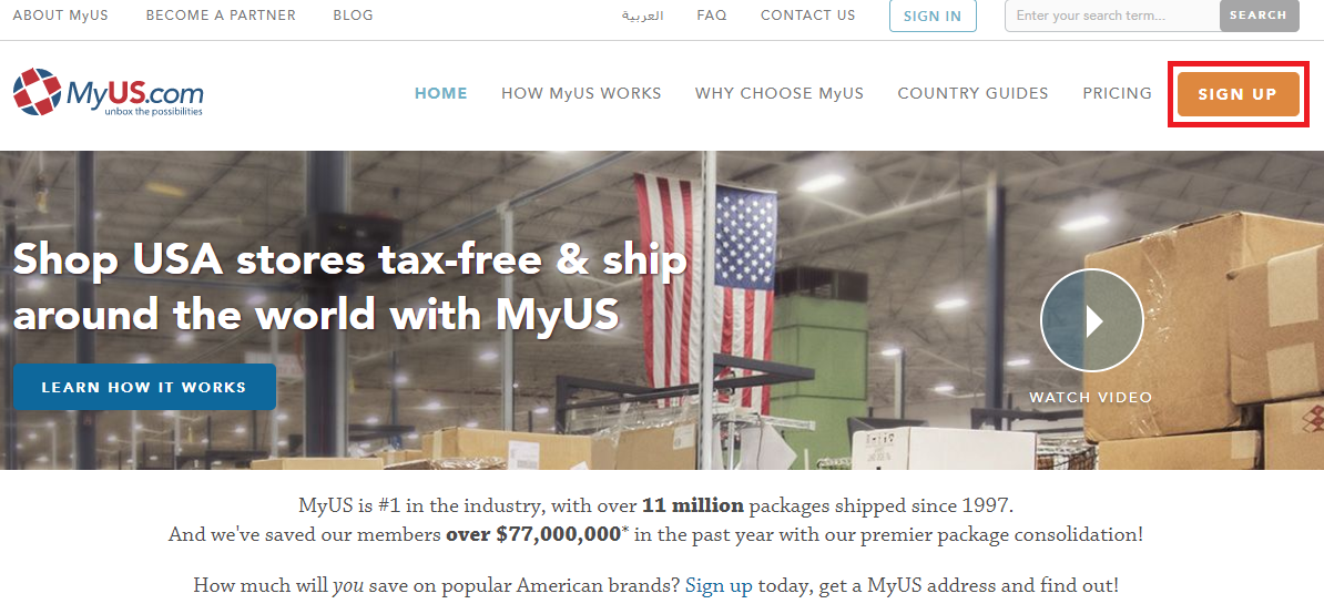輸入ビジネスで必要なMyUSのページ
