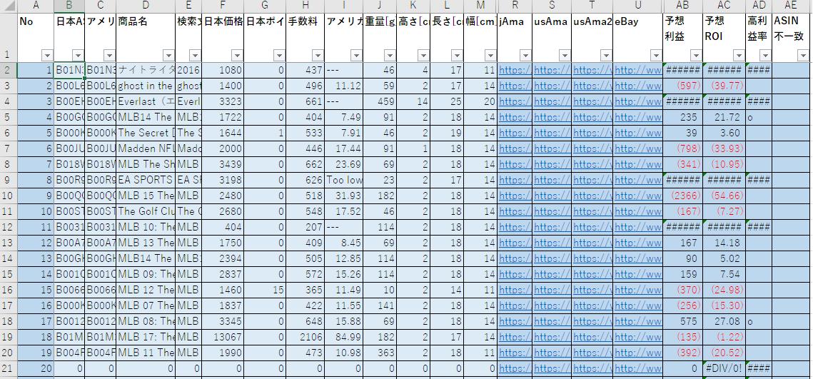 AsinStockerの結果とエクセル計算