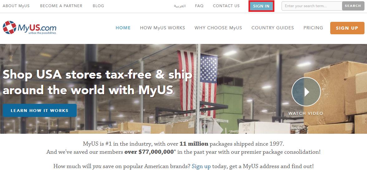 輸入ビジネスで必要なMyUSのページ-ログイン