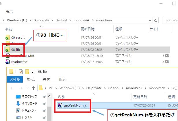 monoPeakにgetPeakNum.jsを入れるだけ
