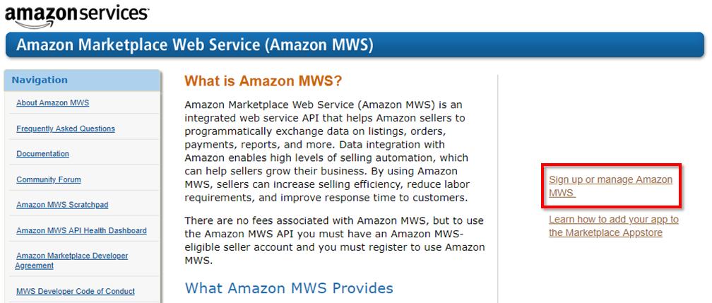 US MWS APIページ
