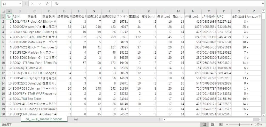 AsinKeeper データ取得結果